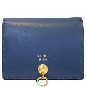 FFENDI BI-FOLD LEATHER WALLET BLUE